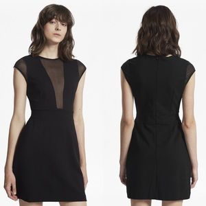French Connection Marie Mesh Panel Black Dress 10